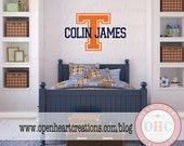 Varsity Initial and Name Monogram Vinyl Wall Decal - Boys Name Wall Decal - Sports Wall Decal with Varsity Letter Theme IN0023