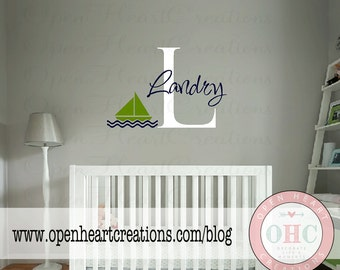 Nautical Boat Wall Decal - Initial and Name Personalized Vinyl Wall Art Lettering - Baby Nursery - 22H x 36W INA0006