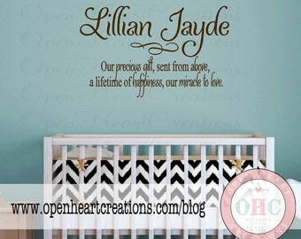 Baby Nursery Wall Sayings - Nursery Wall Quotes - Baby Name Vinyl Wall Decals BA0016