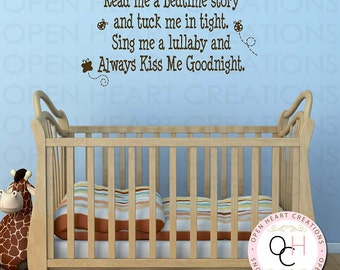 Read Me a Story and tuck me in tight Wall Decal - Poem Baby Nursery Always Kiss Me Goodnight Girl Boy Butterfly Lady Bugs 22h x 36w BA0429