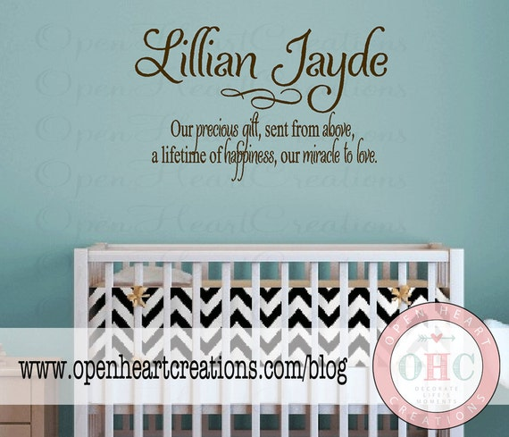 Baby Nursery Wall Sayings Nursery Wall Quotes Baby Name - Baby nursery wall decals sayings