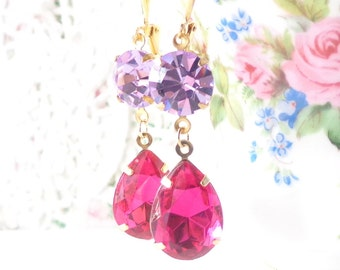 Vintage Rhinestone Earrings - Violet Amethyst Earrings - Fuschia Pink Earrings - Vintage Jewel Dangle Earrings - Crystal