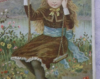 Long Haired Girl in Swing - Colorful Flowers - Victorian Trade Card - Boschee's German Syrup - 1800's