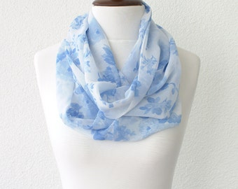 Infinity Scarf Loop Scarf Circle Scarf Blue Flowers Scarf Cowl Scarf Soft and Lightweight