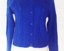Pretty 1990 Brilliant Royal Blue Cable Cardigan Sweater by Susan Bristol. Soft, Fuzzy Mohair & Acrylic Knit Blend. Vintage and Pretty.