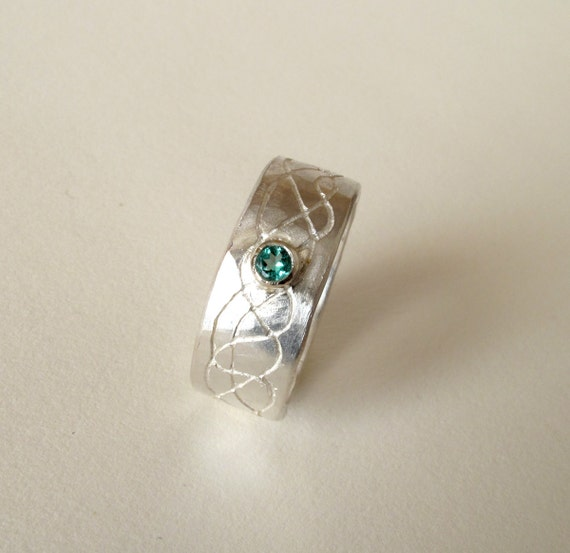 EMERALD Ring For MEN Sterling Silver Ring With Natural Emerald