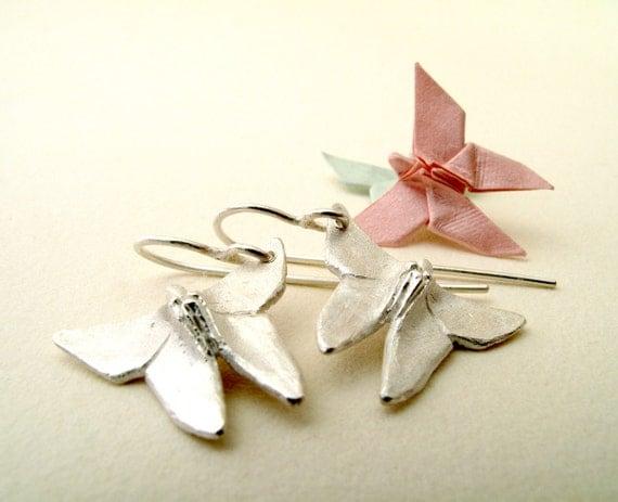 Origami Earrings Silver Butterfly Earrings Origami Butterfly Origami Jewelry