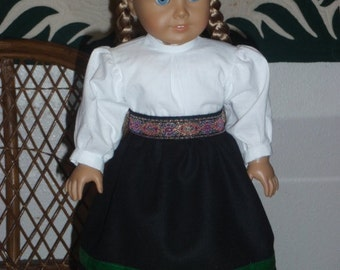 1850s Pioneer Prairie Winter Outfit Wool Skirt & Blouse for American Girl Kirsten 18 inch doll