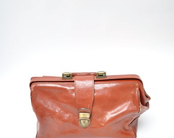 vintage leather purse speedy bag tote  vintage luggage saddle bag