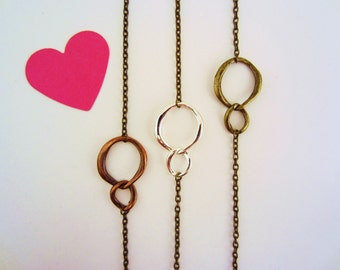 Best friend gift. Friendship necklaces. Friends forever necklaces or bracelet, set of 3. Infinity link charm. Bronze, copper, silver.