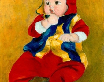 "art print of infant baby painting  ""A Kid Wearing Two Cultural Traditions"" baby painting infant, baby pictures, A4 print 8x10, 6x8 print"