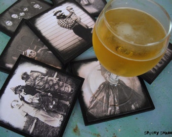 Creepy Halloween Costumes coasters - set of 8 wooden coasters - halloween decor, horror decor, victorian, old pictures, sepia, spooky shades
