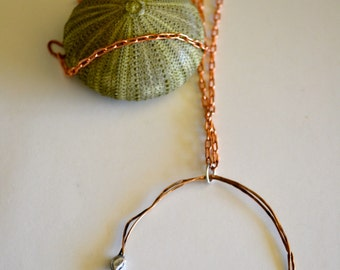 Handmade Circular Bronze Necklace, Running in Circles, Organic jewelry