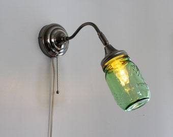 Mason Jar Wall Sconce featuring a GREEN Pint Ball Mason Jar - Upcycled Hanging Wall Sconce Stainless Steel Lighting Fixture - BOOTSNGUS Lamp