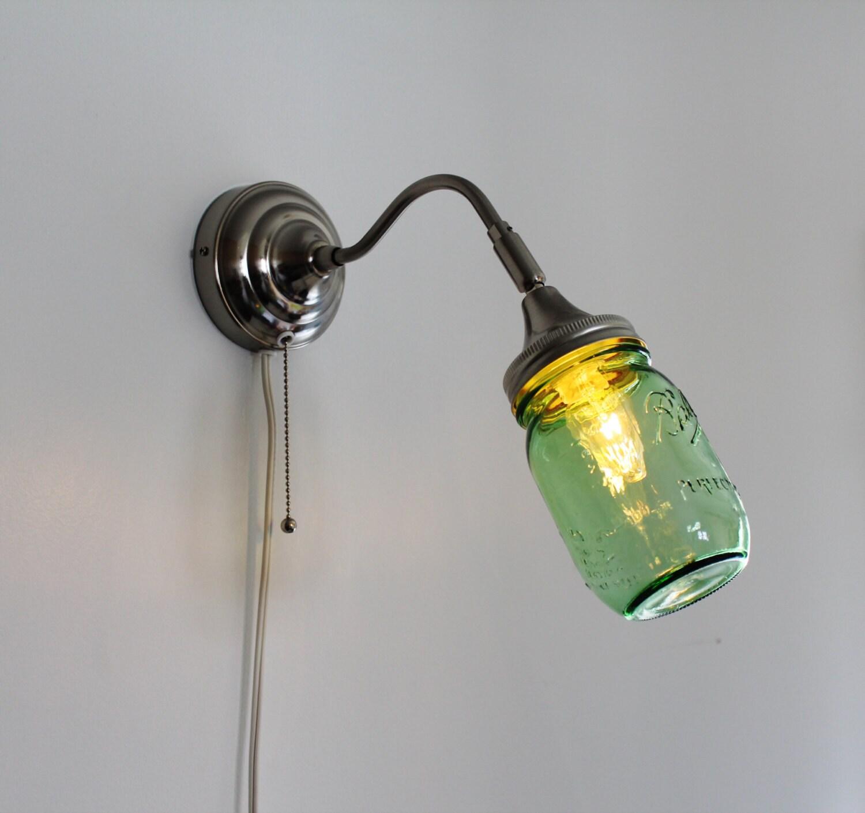 Mason Jar Wall Sconce Etsy : Mason Jar Wall Sconce featuring a GREEN Pint Ball Mason Jar