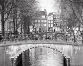 Amsterdam Photography - Black and White Amsterdam Fine Art Photograph, Travel Wall Decor, Large Wall Art