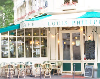 Paris Photography - Cafe Louis Philippe, French Home Decor, Travel Fine Art Photograph, Large Wall Art