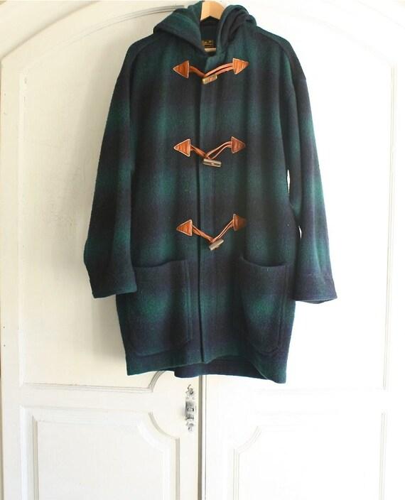 vintage Eddie Bauer plaid duffle coat wool . men's large