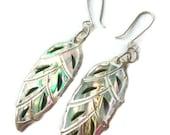 Paua shell and sterling silver leaf dangle earrings tropical island summer jewelry beachy themed jewellery