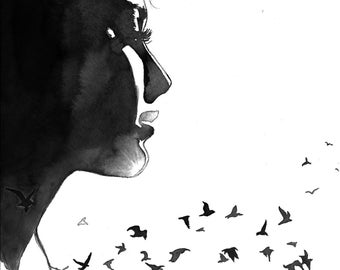 Free Bird, print from original watercolor fashion illustration by Jessica Durrant