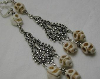 Memento Mori Skull Sterling Silver Chandelier Earrings Magnesite Stone OOAK Victorian Drops