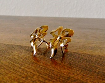 Vintage Gold Plated Sterling Silver Bow Earrings with Screwbacks