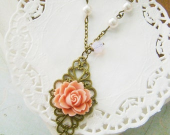 Bridesmaid Victorian style Lace Filigree Resin Rose Antiqued Bronze Necklace, wedding gifts, bridal jewelry, for wife, teenage prom