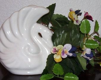 ART NOUVEAU SWAN Vase, White Glazed, Vintage 1930s