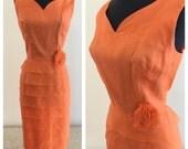 1960's Orange Peach Organza Cocktail Dress Size M
