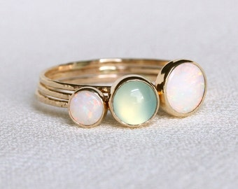 SOLID 14k Gold Natural Fiery AAA Opal and Chalcedony Orbital Ring Set of Three - Simple Beautiful Solid 14K Gold Stack Ring