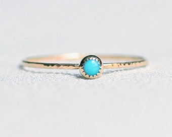 Select a Stone - Tiny Birthstone Cabochon Stacking Ring in Solid 14k Gold - Serrated Bezel and Hammered Band - Simple Delicate Dainty Thread