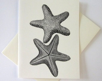 Starfish Note Card Set of 10 in White or Light Ivory with Matching Envelopes