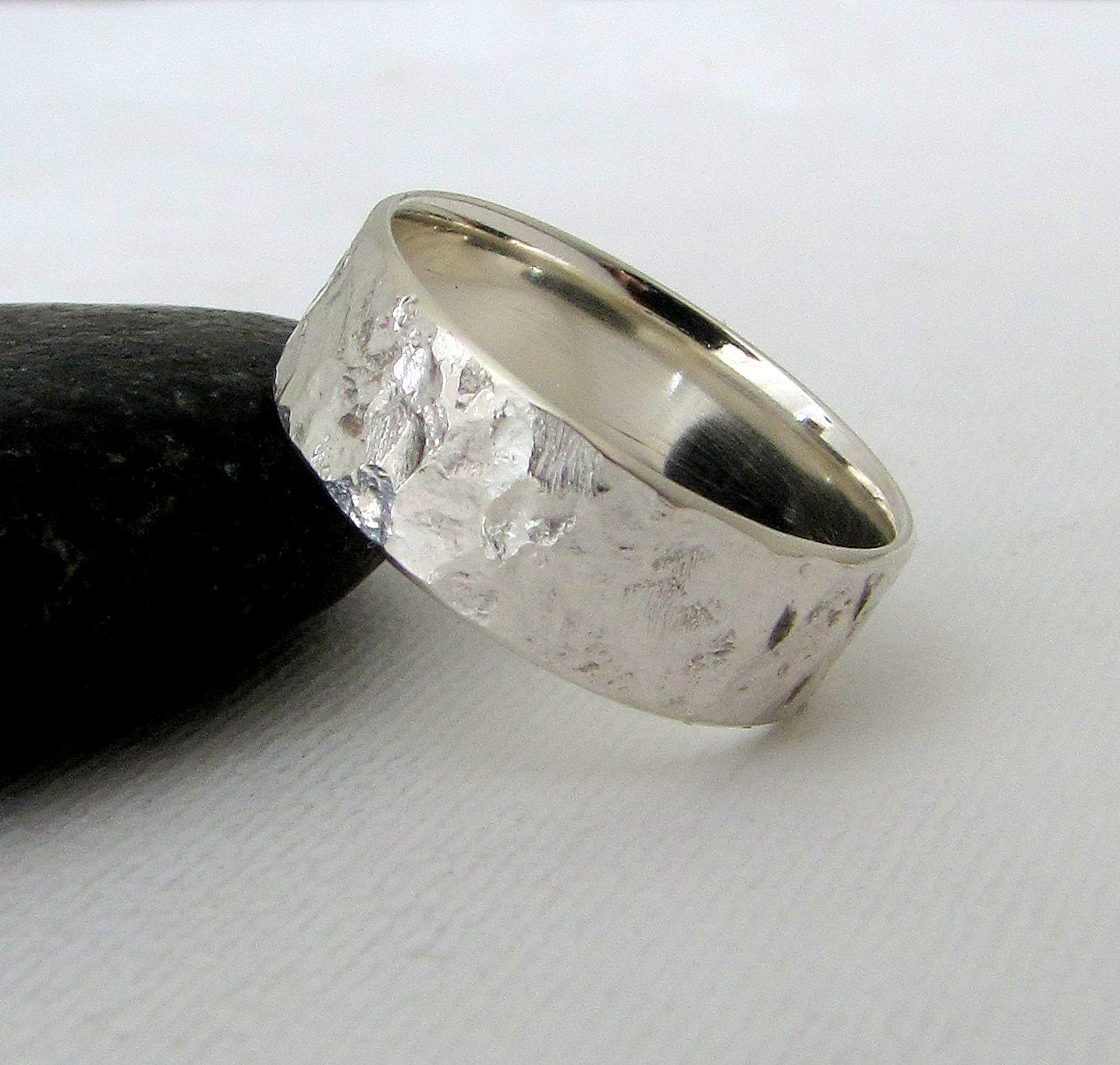 Silver Band Wedding Rings Mens Wedding Band Silver Bark Wedding Ring Hammered Silver