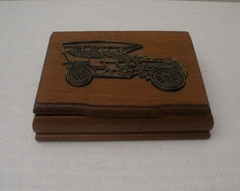 Vintage Wood Playing Card Box with Antique Car