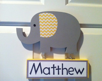 elephant door sign elephant nursery wood door hanger gray and yellow boy's room decor nursery door sign personalized sign wooden elephant