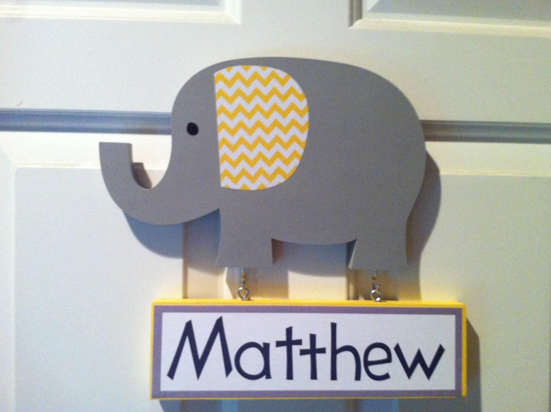 zoom. elephant door sign nursery decor wooden elephant name sign