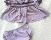 Vintage Dress set 50s 60s Baby Dress and Bloomers Set in Purple 3 to 6 months - on sale