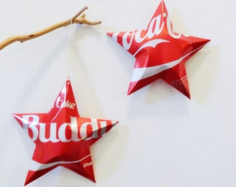 Buddy Diet Coke or Coke Stars Christmas Ornaments  Soda Can Upcycled Coca Cola