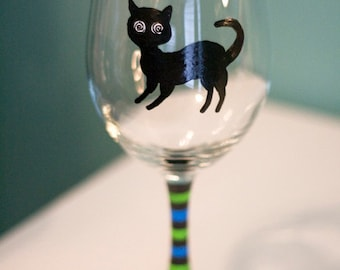 Spooky Psycho Kitty - Halloween Cat - Hand Painted Wine Glass