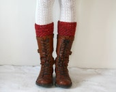 Red HandMade boot cuffs // leg warmers // boot toppers // boot socks Gift under 50 Mothers days Gift
