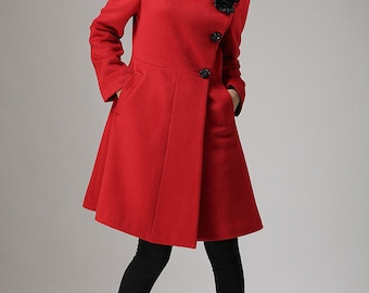 Red coat Winter cashmere coat wool jacket coat (734)