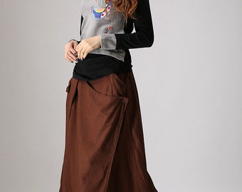 Brown Skirt, Linen skirt, Maxi skirt ,custom made skirt ,A-line Skirt ,Pleated Skirt,designer clothing,Ladies clothing,Linen clothing (858)