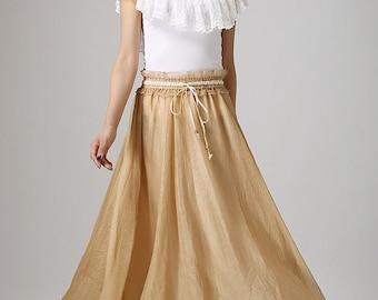 Chiffon skirt, Chiffon maxi skirt, womens skirts, summer skirt, custom made, long skirt, ruffle waist detail, beige skirt, Elastic waist 892