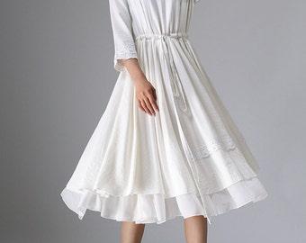 White linen dress - women tea length dress with lace detail - custom made (960)