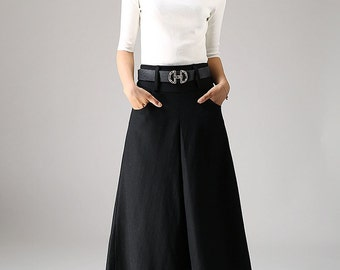 black skirt, pockets skirts, pleated skirt, maxi skirt, wool skirt, womens skirts, A line skirt,  winter skirt, warm skirt, handmde  (1084)