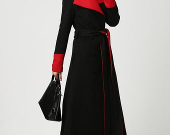 Womens Long Black Wool Coat with Red Detailing and Shawl Collar (1106)