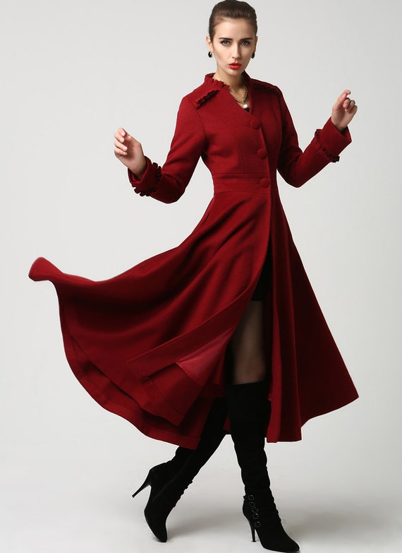 long winter coat red coat maxi coat wool coat Dress coat