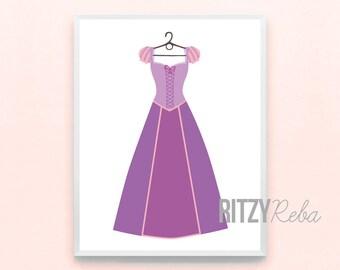 Disney Tangled Inspired Rapunzel Princess Dress Print - Minimalist Nursery Art, Kids Playroom Art, Childrens Art, Girls Modern Nursery