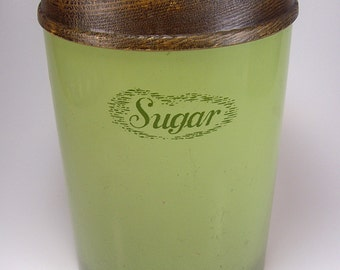 Tin Sugar Canister, Avocado Green with Pears and Grapes Lid, J Chein Co, Cheinco, Retro, 1970's