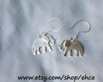 Sterling Silver Elephant Dangle Earrings